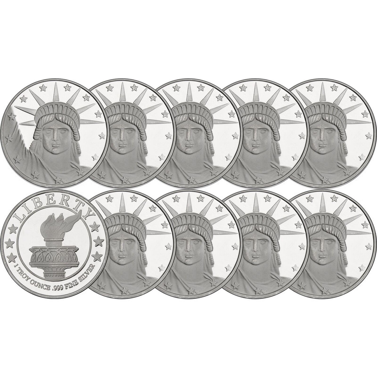 Silvertowne Lady Liberty 1 oz .999 Fine Silver Round - LOT of 10
