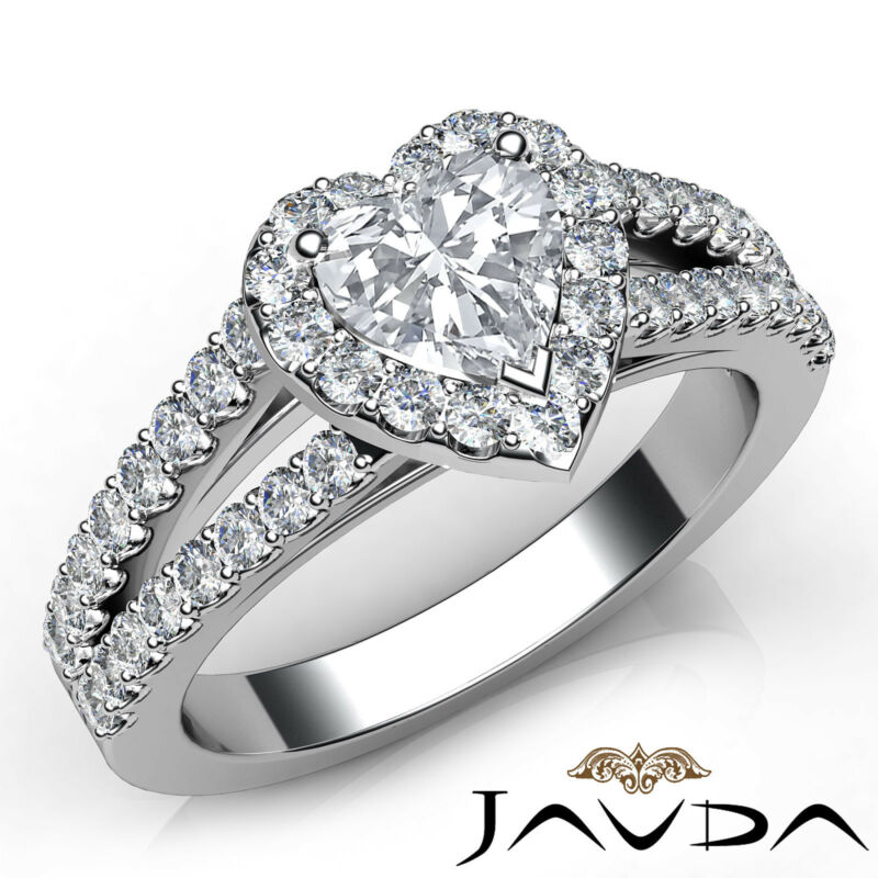 Heart Cut Halo Prong Set Diamond Engagement Ring Gia H Vs1 18k White Gold 1.25ct