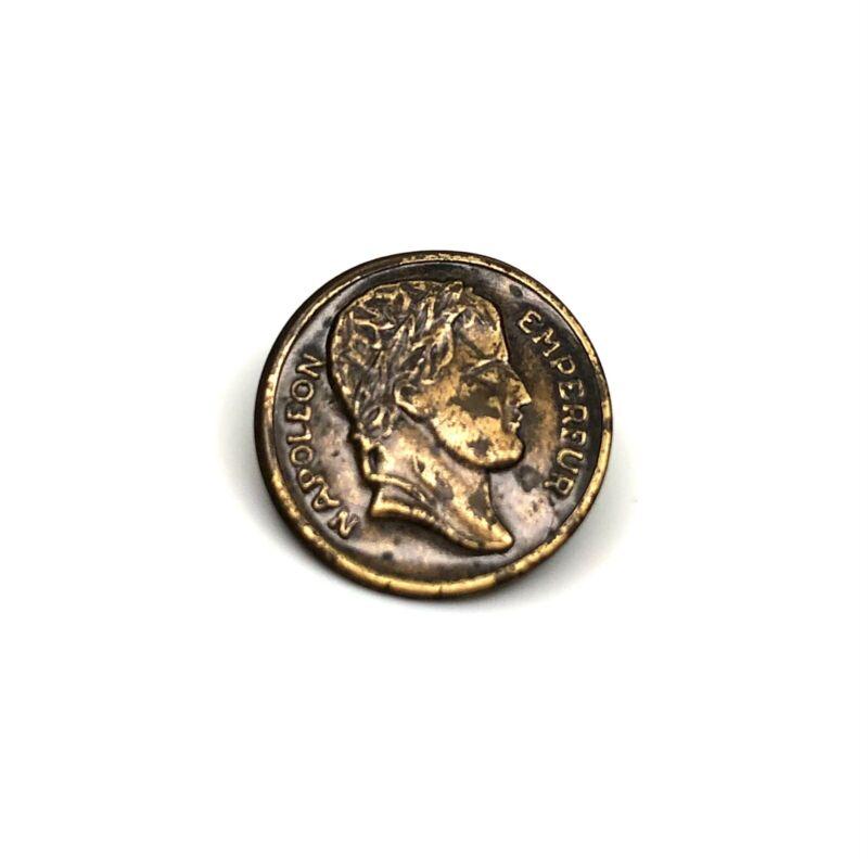 Antique Napoleon Empereur Brass Button Metal Shank 1800s 15mm