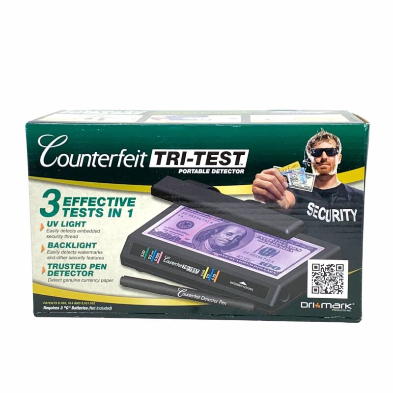 Dri-Mark Tri-Test Counterfeit Bill Portable Detector UV Light Backlight Pen#5878