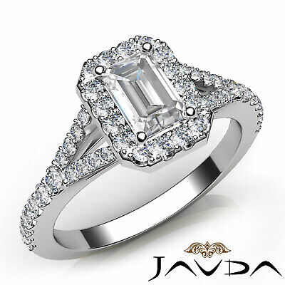 French U Pave Split Shank Halo Emerald Cut Diamond Engagement Ring GIA F VS1 1Ct