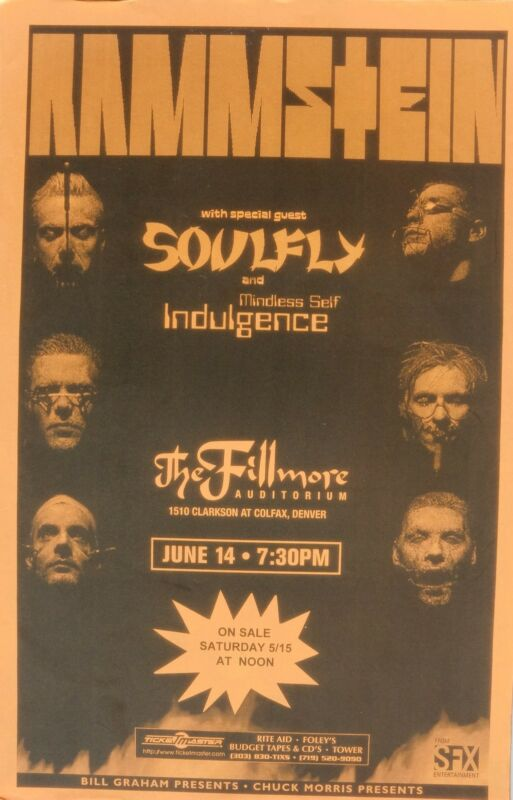RAMMSTEIN & SOULFLY 1999 DENVER CONCERT TOUR POSTER - Heavy Metal Rock Music