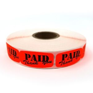 1000 Self-Adhesive Paid Thank You Labels - Paid Retail Store Tag Stickers