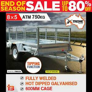 New 8x5 Full Welded Galvanised Box Trailer with 600mm Cage
