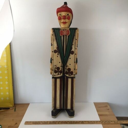 Antique Circus Folk Art Carnival Clown Cabinet Wood Hand Carved Cabinet -
