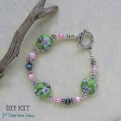Sakura ~ Lampworked Beaded Bracelet Jewelry Making Kit Fresh Water Pearls