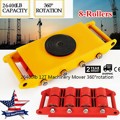 12t 26400lb Heavy Duty Machine Dolly Skate Roller Machinery Mover 360 Rotation