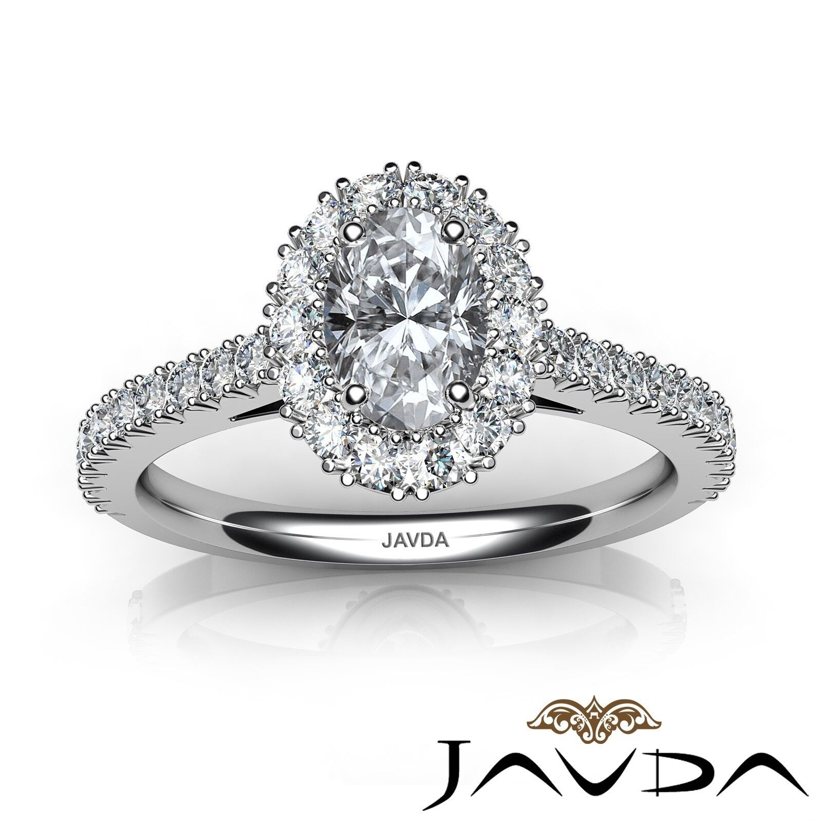 1.5ctw French V Cut Halo Pave Oval Diamond Engagement Ring GIA F-VVS2 White Gold 3