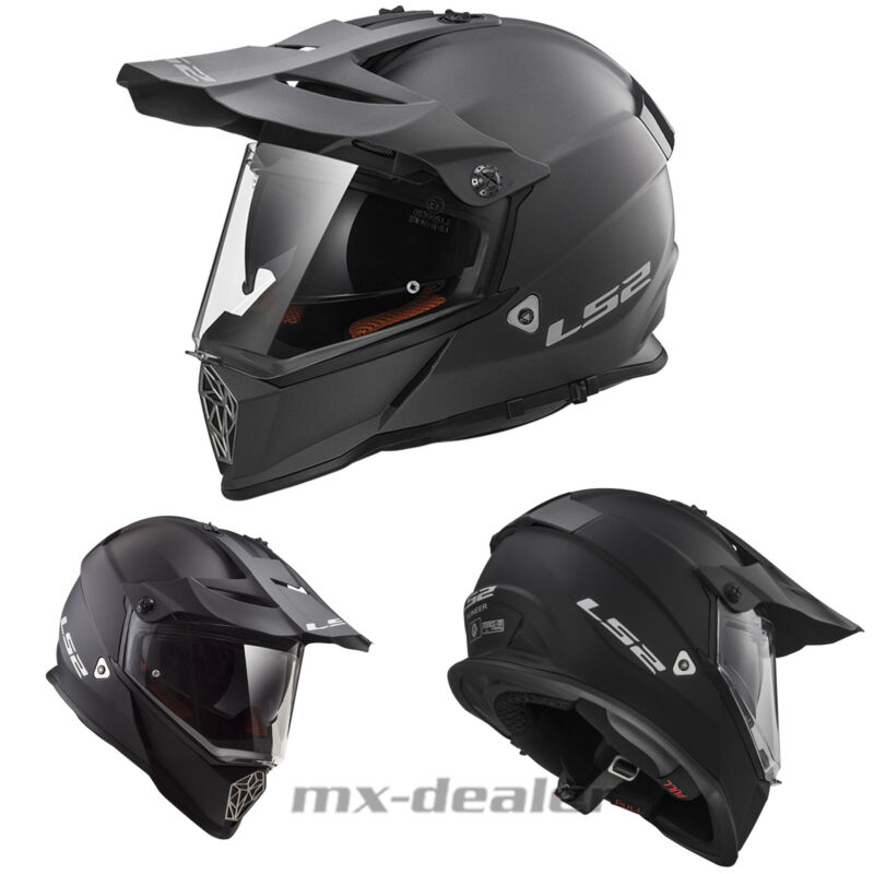 CASCO INTEGRALE TOURING MOTARD ENDURO LS2 MX436 PIONEER MATT BLACK TAGLIA XL