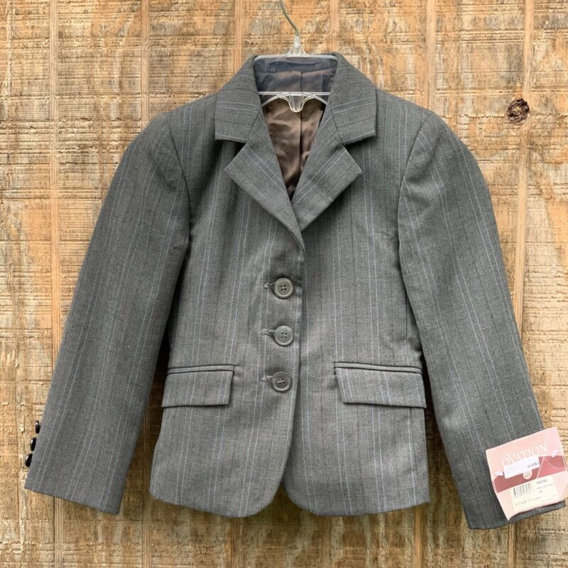 Ovation Equestrian Riding Coat Gray Blue Houndstooth Blazer Size 6 Small $195