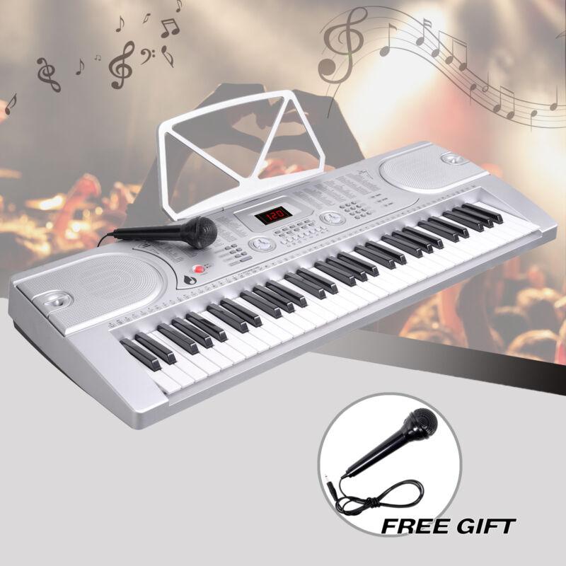 61 Key Music Electronic Keyboard Digital Piano Organ with Microphone Silver