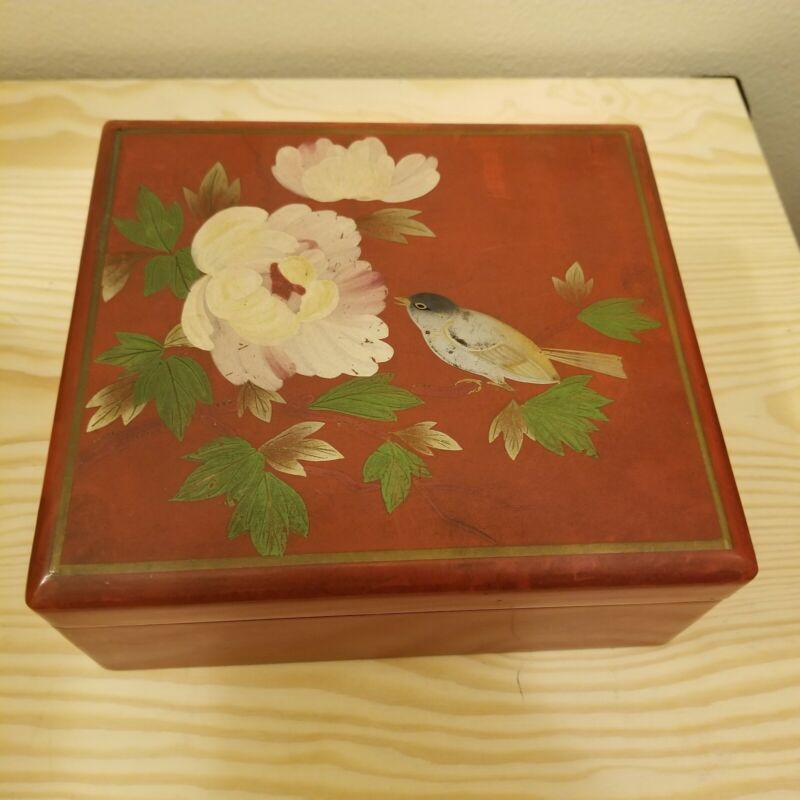 Vintage Lacquered Japanese Lunch Box with Inner Container