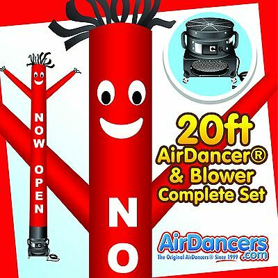 Red Now Open Air Dancer  Blower 20ft Dancing Tube Man Sky Dancer