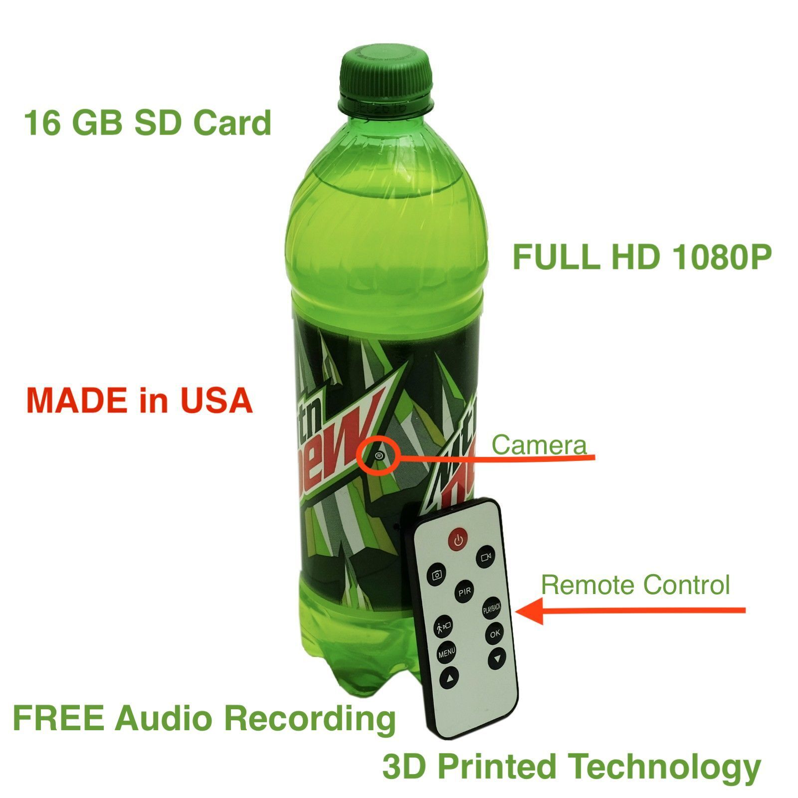 1080P Full HD Hidden Motion Detection Spy Nanny Camera Soda Water Bottle DVR Cam