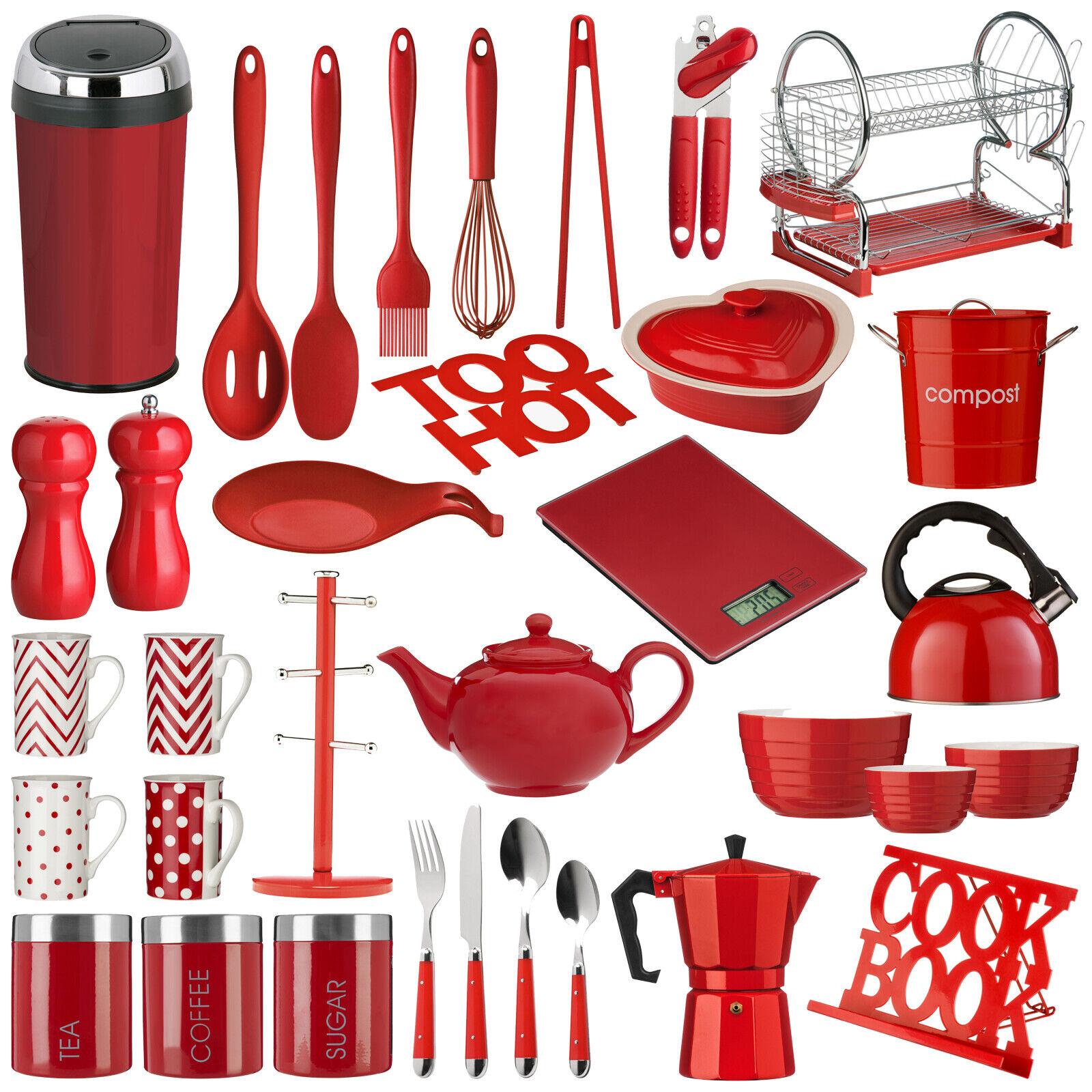 Red Kitchen Accessories Utensil Storage Canister Bin Scales