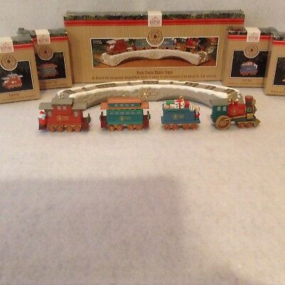 Hallmark Keepsake 1991 Train Trestle and 4 Car Ornaments