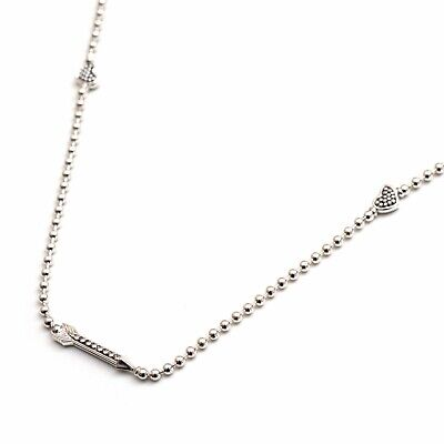 """New LAGOS Silver Hearts and Arrows Caviar Bead Ball Chain 36"""" Toggle Necklace"""
