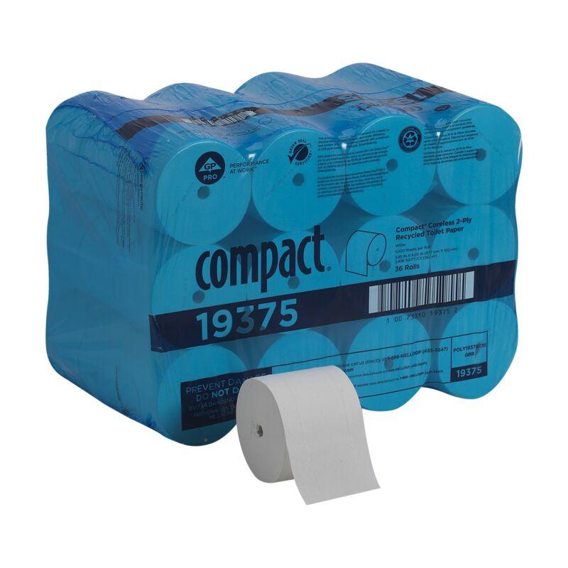 Georgia Pacific Compact 2-Ply Toilet Tissue Paper Rolls Coreless 36 Rolls 19375