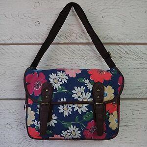 Mujer-Chica-Floral-Maletin-Lona-Hombro-Bolso-Cruzado-Vintage-Azul-Flores