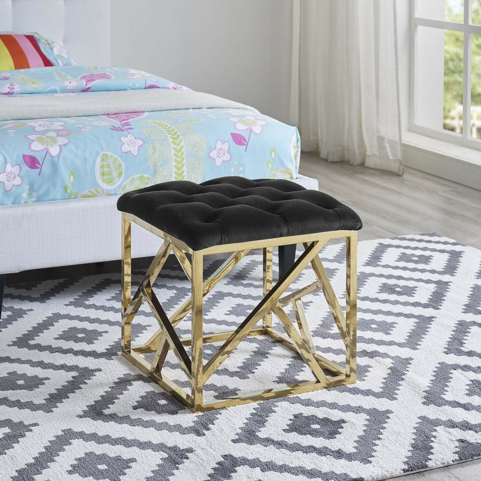 Prime Details About Contemporary Modern Tufted Velvet Geometric Metal Ottoman Bench In Gold Black Pdpeps Interior Chair Design Pdpepsorg