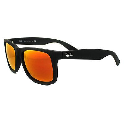 Ray-ban Sonnenbrille Justin 4165 622/6Q Gummi Schwarz Rot Spiegel Groß 55mm