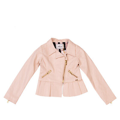 RRP €120 CESARE PACIOTTI 4US Faux Leather Jacket Size 4-5Y Lined Pleated Hem Zip