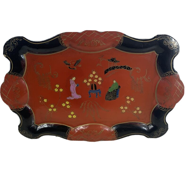 Vintage Japanese Hand Painted Chinoiserie Paper Mache Lacquer Wood Tray