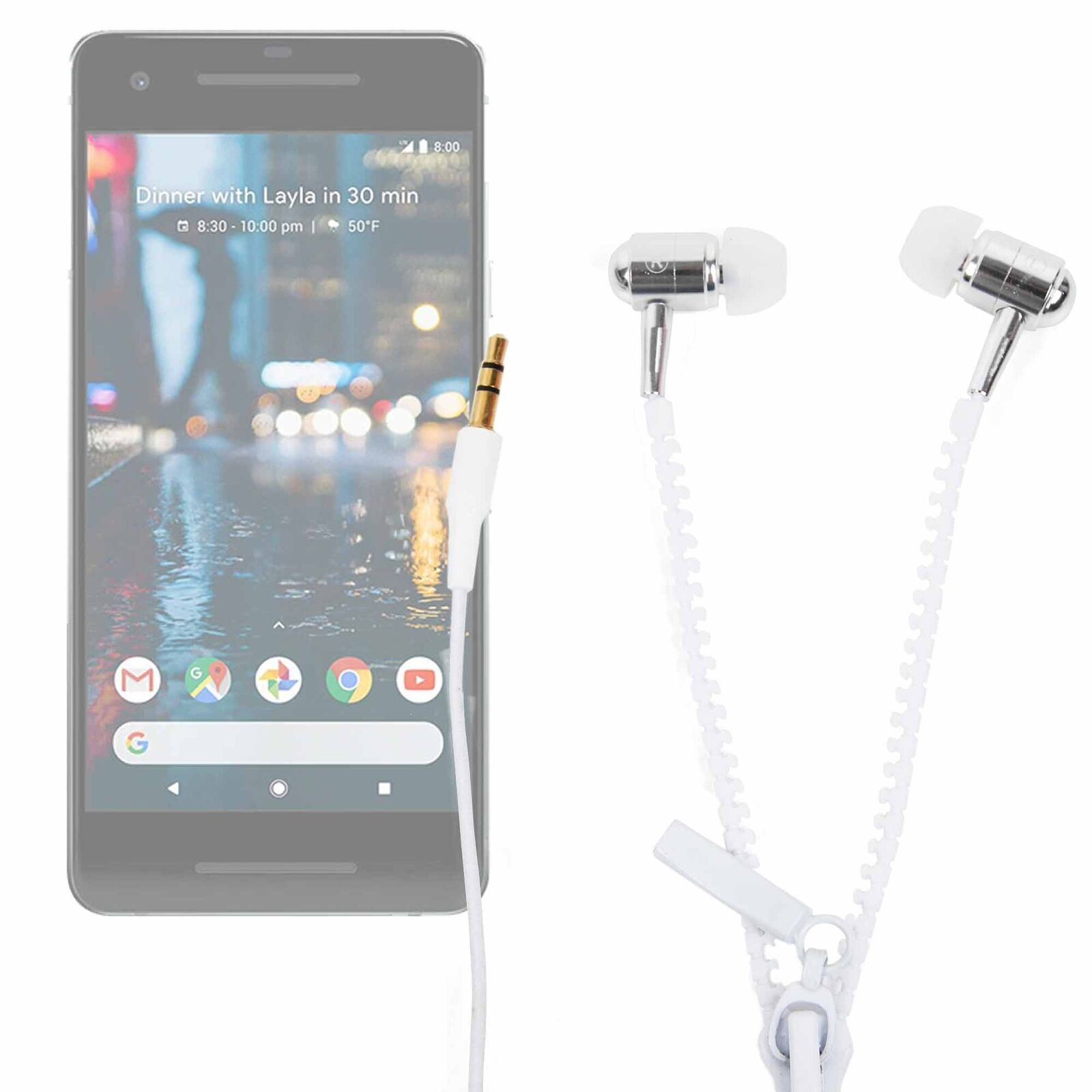 In-Ear 'Anti Tangle' Zip Earphones for Google Pixel 2 Smartp