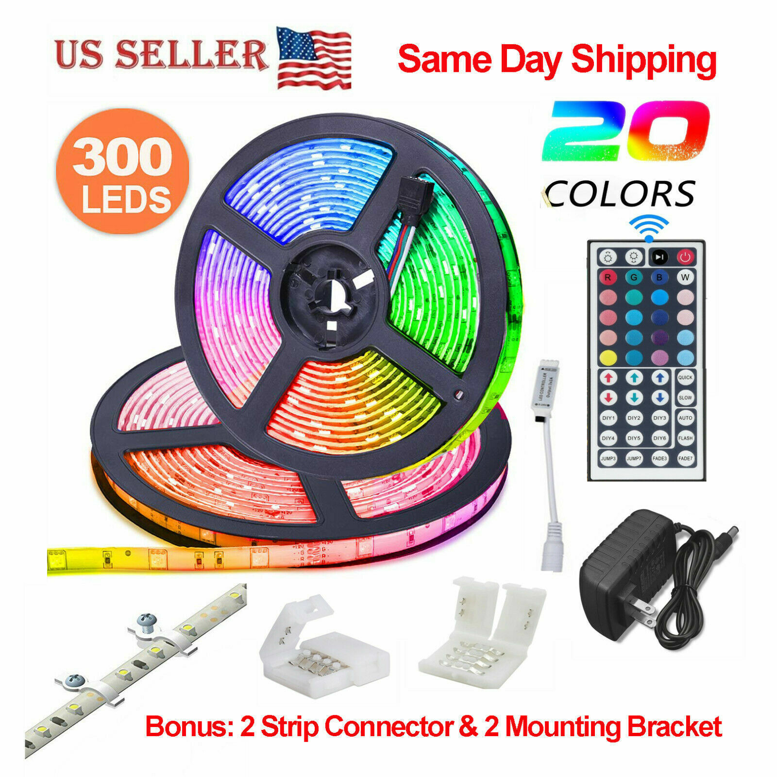32.8 Feet RGB Waterproof LED Strip Light SMD 44 Key Remote 12V DC Power Kit 5050 Home & Garden