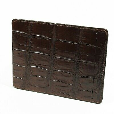 Real Brown Crocodile Alligator Leather Belly Skin Mens Credit Card Slim Wallet.