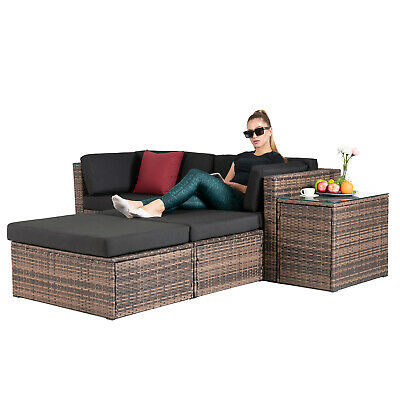 5PCS Rattan Wicker Sofa & Table Set Sectional Cushioned Living Room -