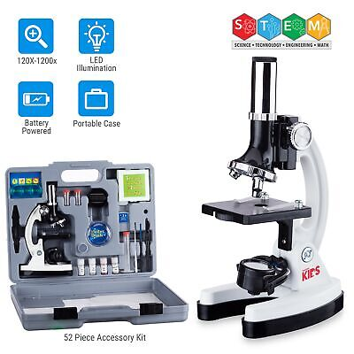 Amscope 52pc 120x-1200x Starter Compound Microscope Science Kit For Kids White