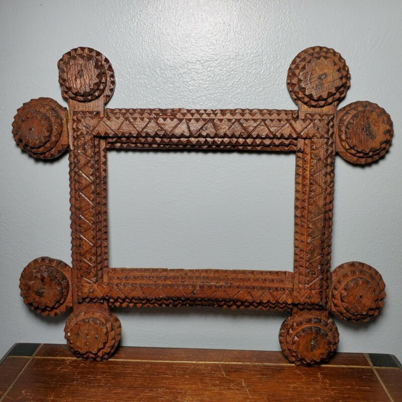 """Small Antique Wooden Tramp Art Picture Frame 4.25"""" x 6.5"""" 19th Century"""