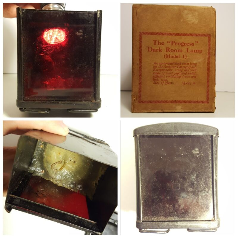 ANTIQUE AMATEUR DARKROOM LAMP RED GLASS CANDLE ORIGINAL BOX EARLY PHOTOGRAPHY