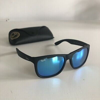 Ray Ban Justin 4165 Colour Mix Sunglasses Black Frames with Blue Mirror Lenses