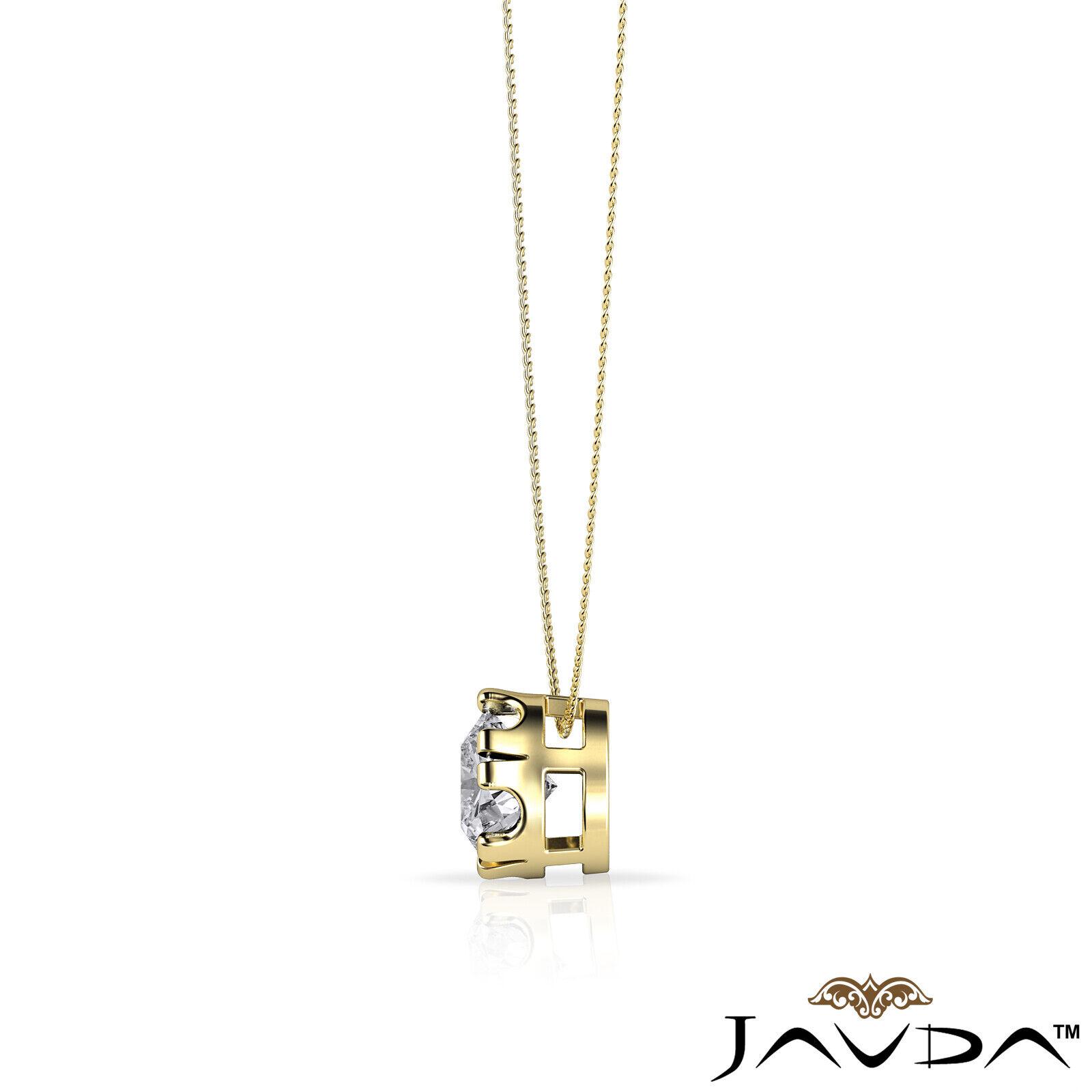 Solitaire Round Shape Diamond Double Prong Pendant 18 Inch Rolo Chain 0.26 ctw. 5