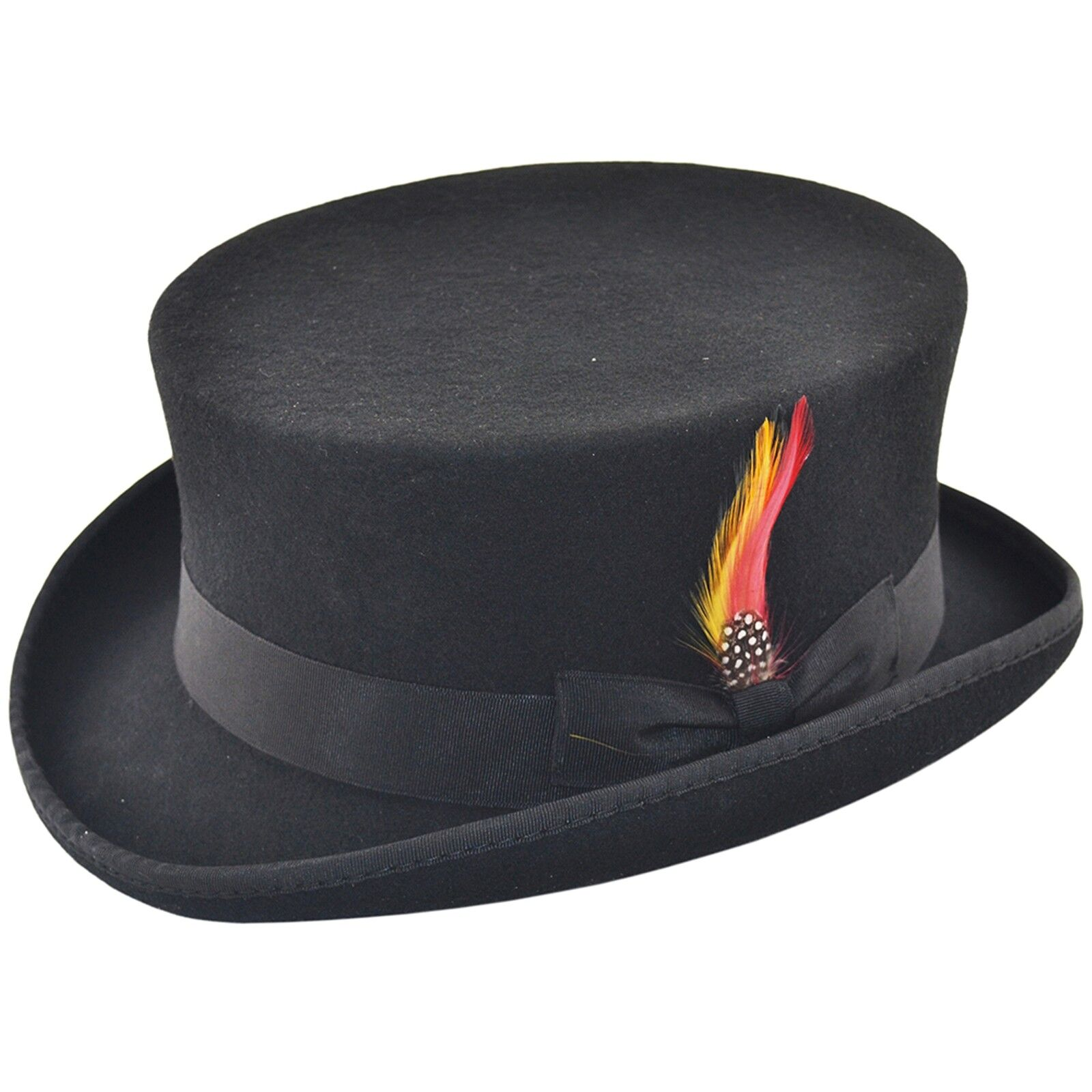 VIZ-UK WEAR Gents Black 100/% Wool Satin Lined Wedding Event Top Hat with Removable Feather