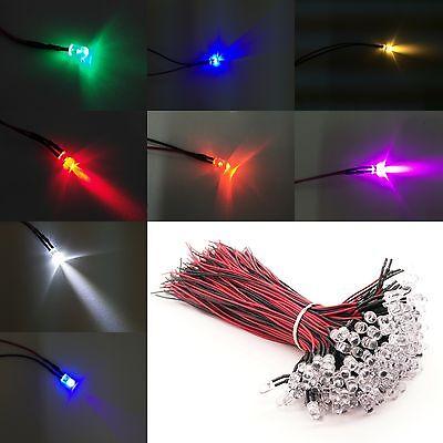 50100 5mm Led Diodes Light Bulb Lamp Pre-wired 12v Dc For Diy Car Boat Us Stock