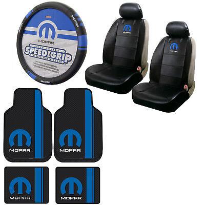 Back Seat Floor Mats - Blue Mopar Car Truck Front Back Floor Mats / Seat Covers / Steering Wheel Cover