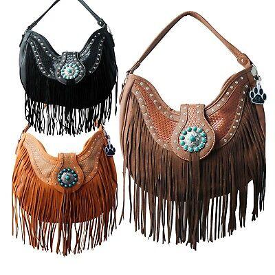 Fringe Concho Buckle Western Purse Cowgirl Concealed Carry Shoulder Bag Handbag
