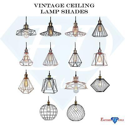 Vintage Ceiling Pendant Light Lampshade Industrial Metal Cage Wire Light Shade
