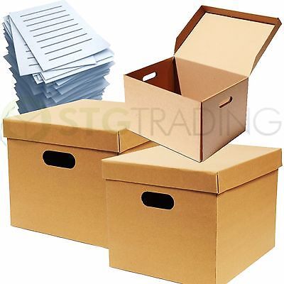 10 x STRONG A4 FILING ARCHIVE STORAGE REMOVAL CARDBOARD BOXES WITH HANDLES