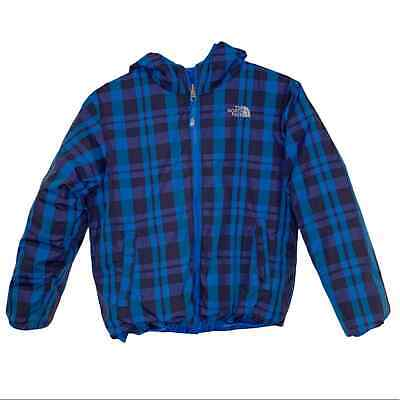 Youth The North Face Reversible Plaid Puffer Coat Blue Size 10/12