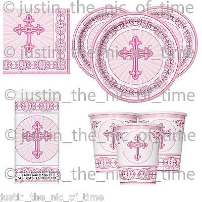 Communion Tableware (Christening Holy Communion Baptism PINK Girl Party Tableware Supplies)