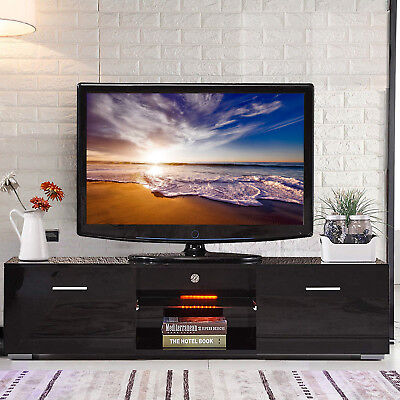 High Gloss Black LED Shelves TV Stand Unit Cabinet w/2 Drawers Console Furniture