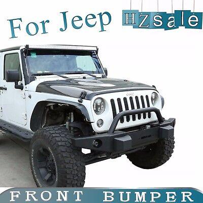 Fit 2007-2017 Jeep Wrangler JK Rock Crawler Winch Plate Front Bumper W/ D-Rings