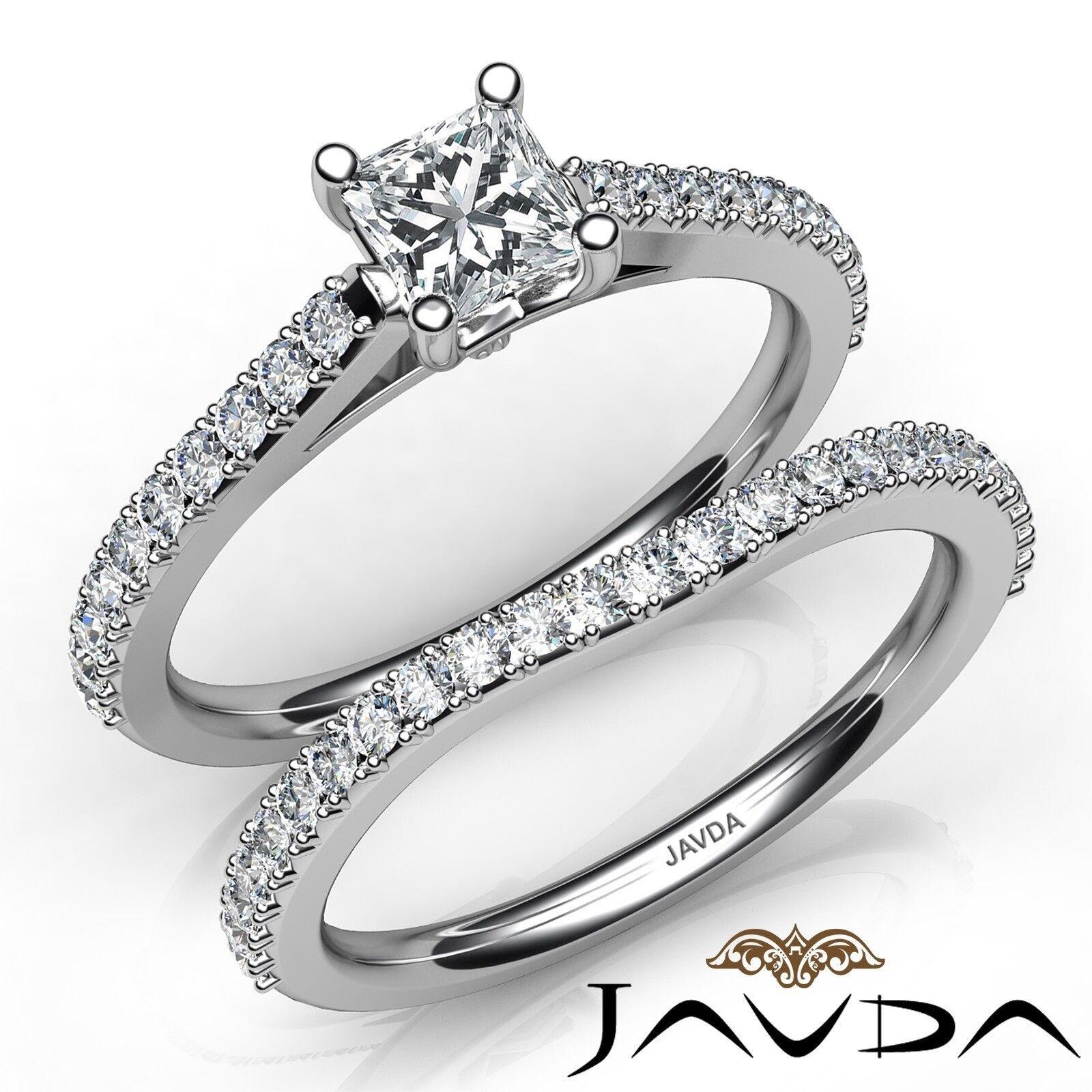 1.53ctw Matching Wedding Bridal Set Princess Diamond Engagement Ring GIA E-SI1