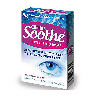 Clinitas Soothe Lubricant Dry Eye relief Drops Gentle & Preservative Free 20 Dro