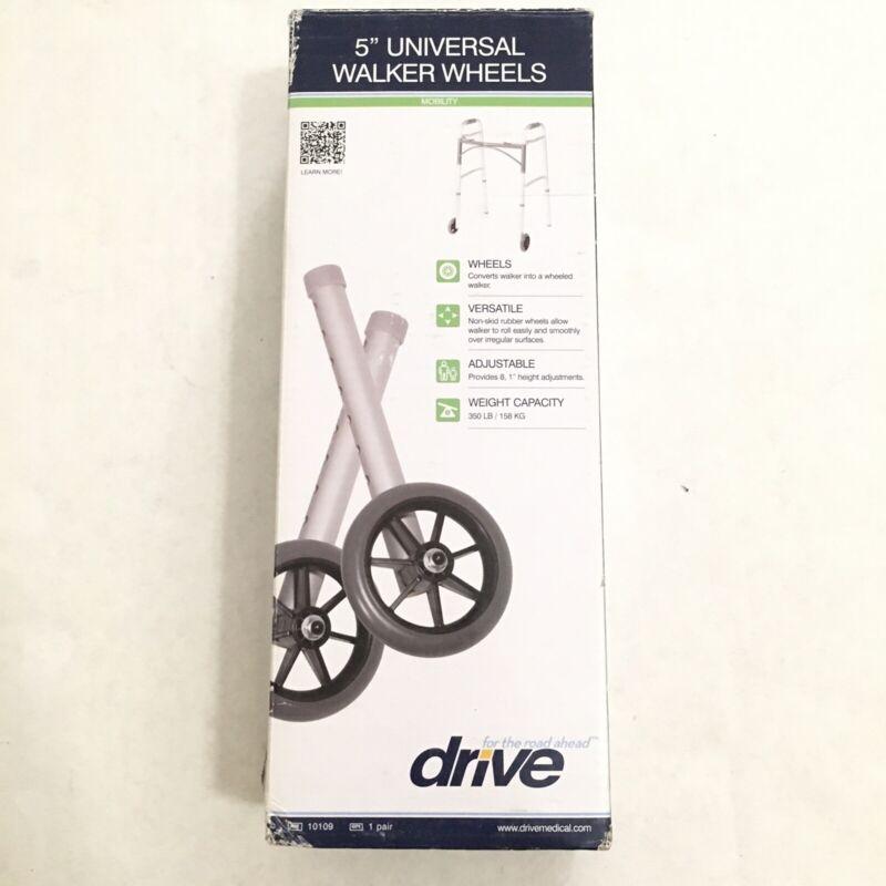 Drive Medical Universal Walker Wheels, 5 Inch, 350 lbs W Rear Glides - One Pair