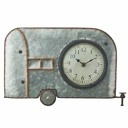 Galvanized Metal Retro Metal Wall Hanging Novelty Clock - Camper